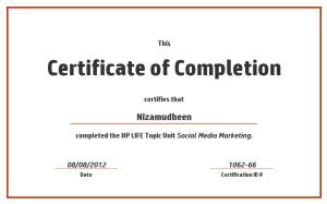 HP Social Media Certification