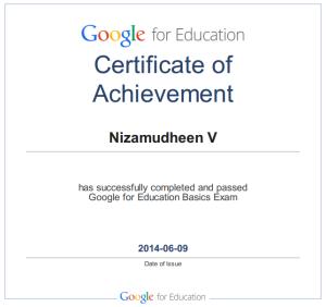 Nizamudheen Valliyattu google certified educator