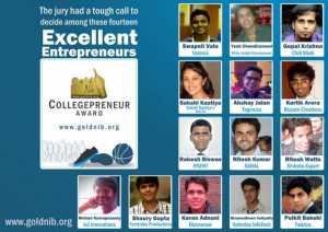 Under Top 14 College Entrepreneurs 2012 from  India